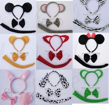 Free Shipping COSPLAYTigerfrogminniefoxcowdograbbit Ear Animal Set Headbandbow Tietail Christmas Hairband