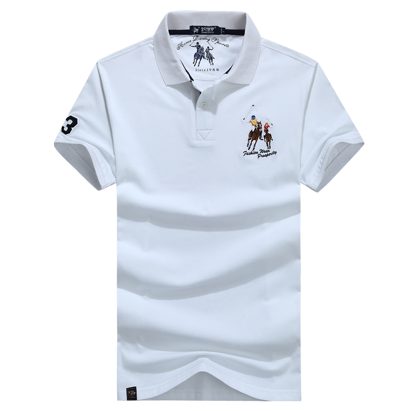 High Quality Tops&Tees White Polo Shirt Men Business Casual Brands Polo Shirts 3D Embroidery Turn-down Collar