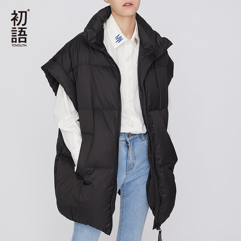 Toyouth Women Short Winter Vest Sleeveless Casual Oversized Coats Thick Warm Vests Ladies Outwear Zipper New