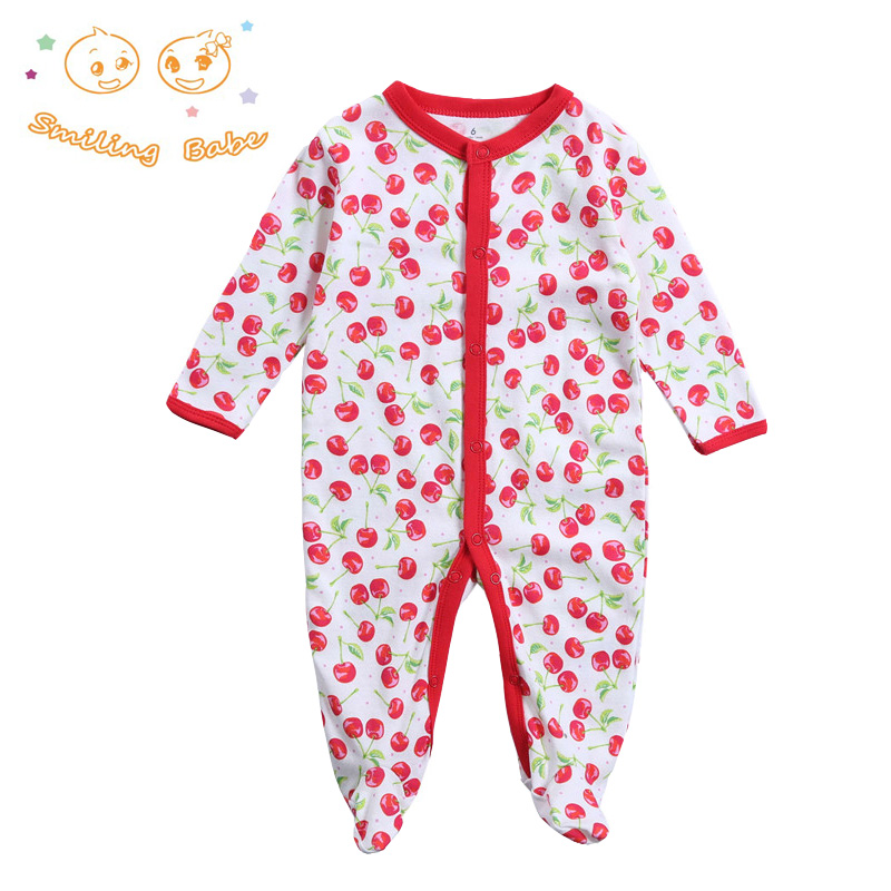Newborn Baby Girl Clothes New Fashion Child-Clothing Long Sleeve Cotton Cartoon Printed Baby Romper Infant Baby Boy Girl Ropmers cute baby elephant print romper baby boy girl clothing newborn cotton long sleeve romper jumpsuit 2017 new baby clothing outfits
