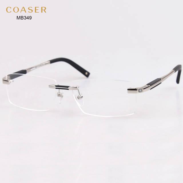 601b91a8cc0c Brand Design Rimless Glasses Wide Spectacle Men Square eyeglasses frames  reading glasses prescription lens optical frame eyewear-in Eyewear Frames  from ...