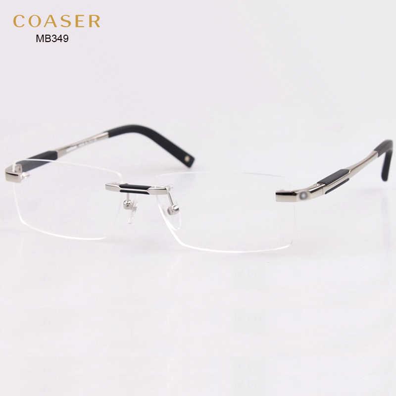 3699371d131 ... Brand Design Rimless Glasses Wide Spectacle Men Square eyeglasses frames  reading glasses prescription lens optical frame ...