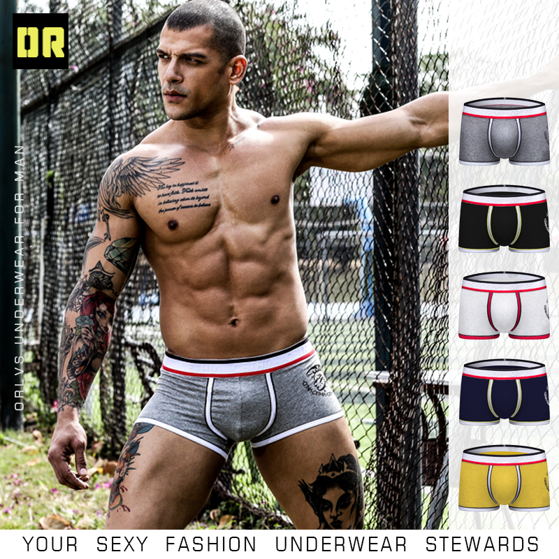 ORLVS Men Underwear Male Boxers Solid Shorts Breathable Quick Dry Cotton Male Panties Comfortable Underpants Cueca Tanga OR49