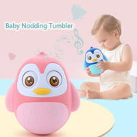 Penguin Baby Rattles Nodding Tumbler Infant Toys Moving Eyes with Music Baby Bells Educational Toys for Children 0 12Months