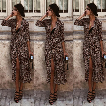 Women's Long Sleeve Dress Leopard Print Bodycon Club Party Cocktail Casual Maxi  Dress