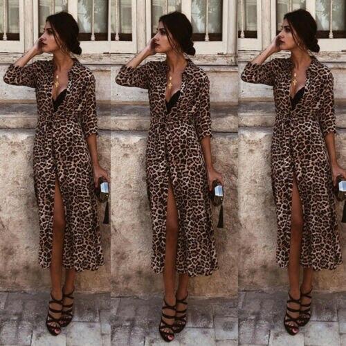 Women's Long Sleeve Dress Leopard Print Bodycon Club Party  Casual Maxi  Dress