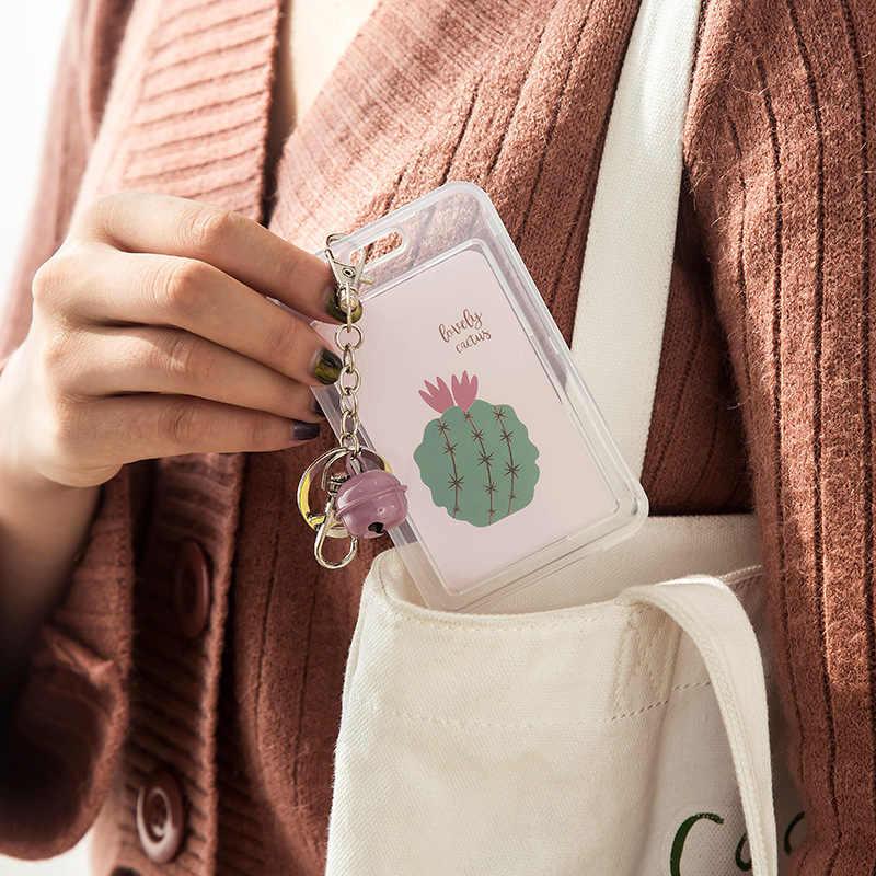 Милый кактус держатель для карт с колокольчиком Papelaria Имя ID школа бизнес-держатель для карт Kawaii брелок сумка чехол автобус карта защитный чехол