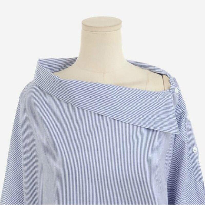 Nouveau été 2018 Lossky Femmes Rayé de SexyShirt Sans Bretelles Lâche Manches Longues WomenPlus Taille Slash Cou Femmes Chemises