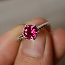 Ring wome ring Sterling 925 Silver1.2CT round cut Lab Ruby Ring Engagement wedding fashion bague Gemstone Ring July Birthstone