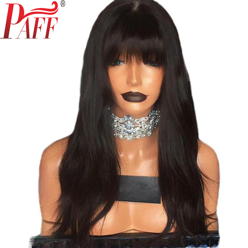PAFF Wavy Glueless Lace Front Human Hair Wig With Full Bangs 130% 150% 180% Density Malaysian Remy Hair Wig Natural Color