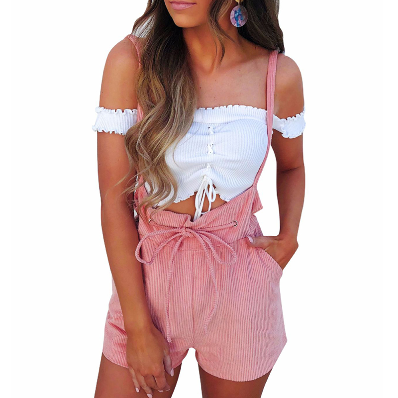Summer Rompers Womens Jumpsuit Shorts Lace Up High Waist Pink Pants Overalls Drawstring Spaghetti Strap Casual Sexy Streetwear