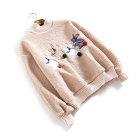 2018 New Winter Pullover Korean Version Semi High Collar Fleece Rabbit Patch Thick Long Sleeved Plush
