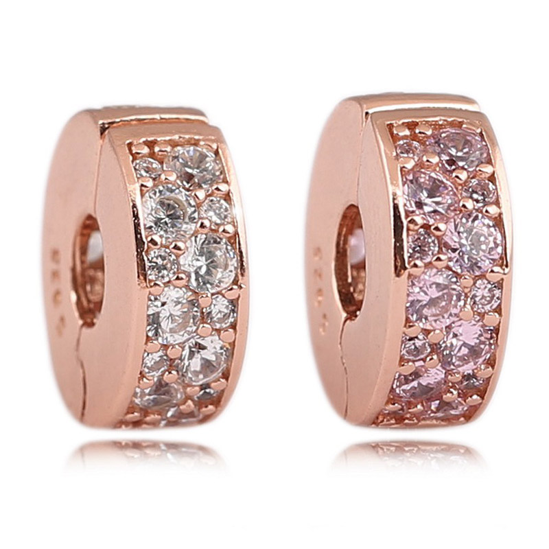7304ef375 2018 New Autumn Shining Elegance Clip 925 Silver Rose Color Pink Clear CZ  Charms Jewellery Fits Pandora Women Diy Bracelet
