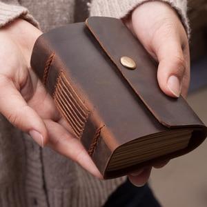 Image 1 - Handmade Mini Cute Pocket Diary Leather Notebook Travel Journal Sketchbook Vintage Creative School Birthday Gift