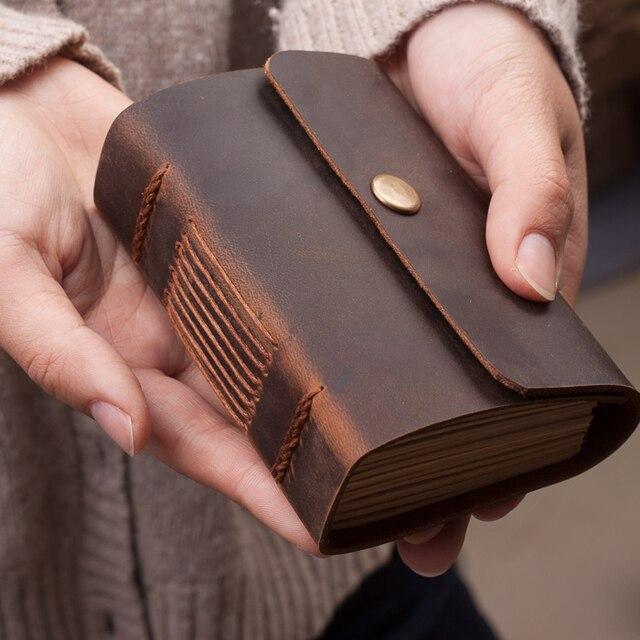 Mini diário de bolso feito à mão, diário para caderno de couro para viagem, diário, sketchbook, presente de aniversário, escola criativa vintage