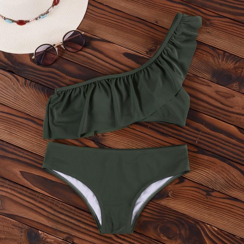 HTB1CncavOOYBuNjSsD4q6zSkFXa3 INGAGA Bikini 2019 One Shoulder Swimsuit Ruffle Swimwear Women Solid Women's Swimming Suit maillot de bain femme Sexy Biquini