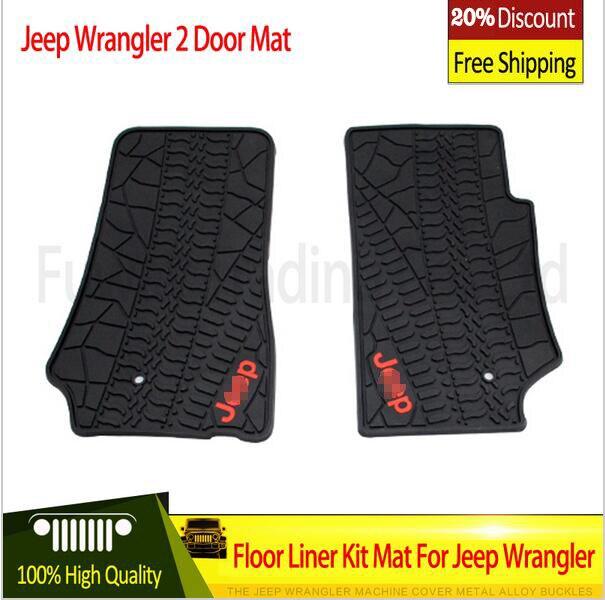 Voiture autocollants noir/rouge avec logo caoutchouc TPE matériel tapis de sol Kit pour Jeep Wrangler illimité JK 4/2 porte 2007-2015