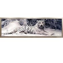 Алмазная вышивка 5D DIY Алмазная Картина Вышивка крестом белый тигр Мозаика из круглых бриллиантов животные Домашние картины для хобби творчества