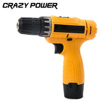 CRAZY POWER 12V Electric Drill Double Speed Lithium Cordless Drill Household Electric Screwdriver Power Tool EU/UK/AU Plug