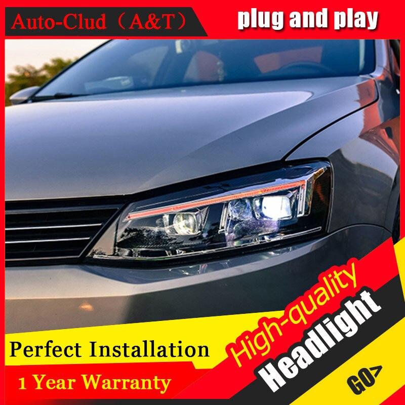 Авто Clud стайлинга автомобилей для VW Jetta фары 2012-2016 для Jetta голову светодиодные лампы спереди Биксеноновая объектив двойной луч СПРЯТАЛСЯ ком...