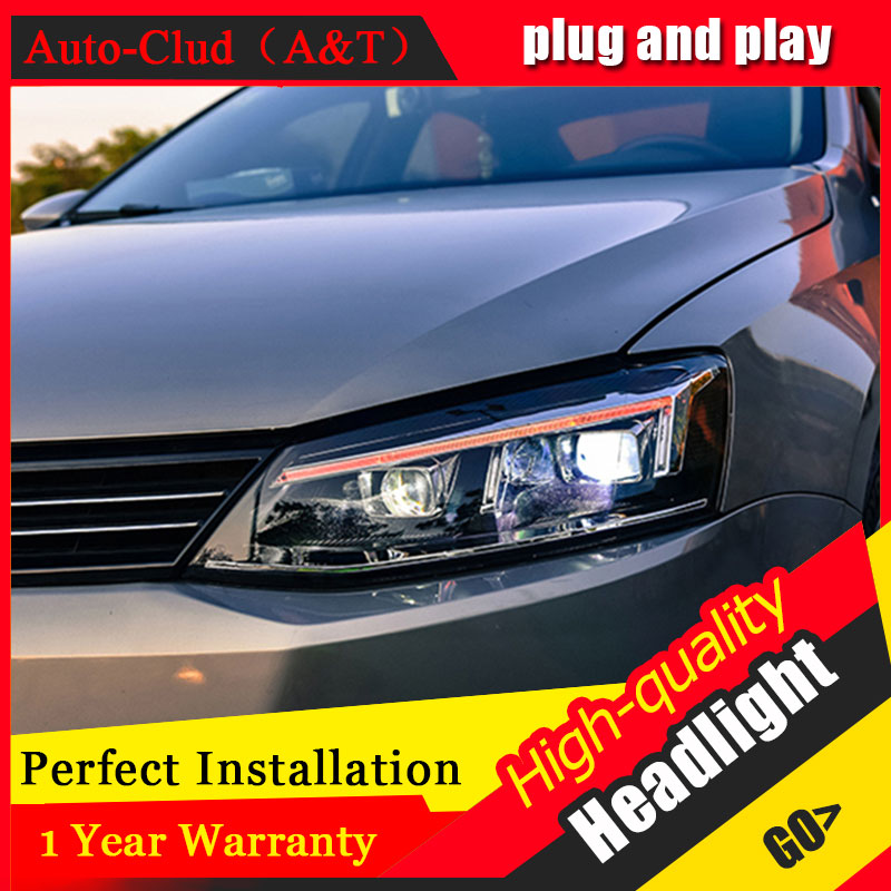 Auto Clud Car Styling For VW Jetta headlights 2012-2016 For Jetta head lamp led front Bi-Xenon Lens Double Beam HID KIT hireno headlamp for 2016 hyundai elantra headlight assembly led drl angel lens double beam hid xenon 2pcs