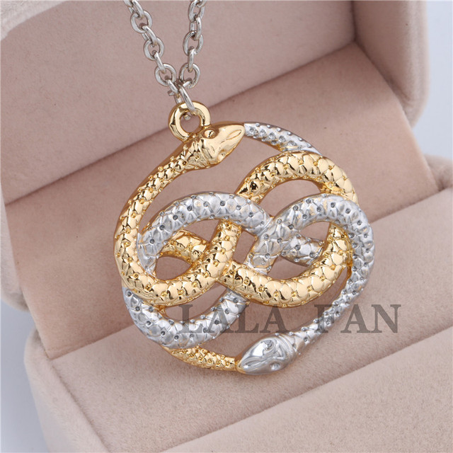 The never ending story steampunk vintage style two snake auryn the never ending story steampunk vintage style two snake auryn necklace xl428 mozeypictures Choice Image