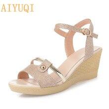 AIYUQI Women sandals summer shoes 2019 new women platform wedges heels for women,Gold basic sandal footwear