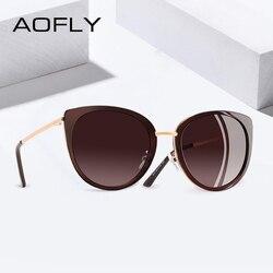 AOFLY 2019 BRAND DESIGN Cat Eye Sunglasses Women Vintage Ladies Polarized Sun glasses Female Shades Metal Frame Eyewear Gafas