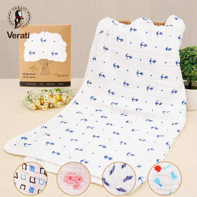 VERATI Muslin Cotton Baby Towel Six Layers Cotton Gauze Baby Bath Towel Shower Towels Baby Stuff Childrens Towel 90*90CM V096