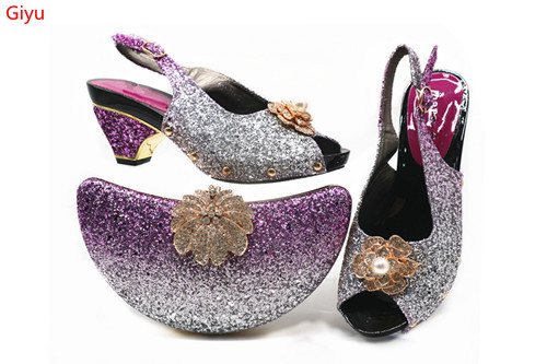 doershow Italian Shoes With Matching Bags Set Italy African Women's Party Shoes and Bag Sets purple Color Women shoes!!SHJ1-21