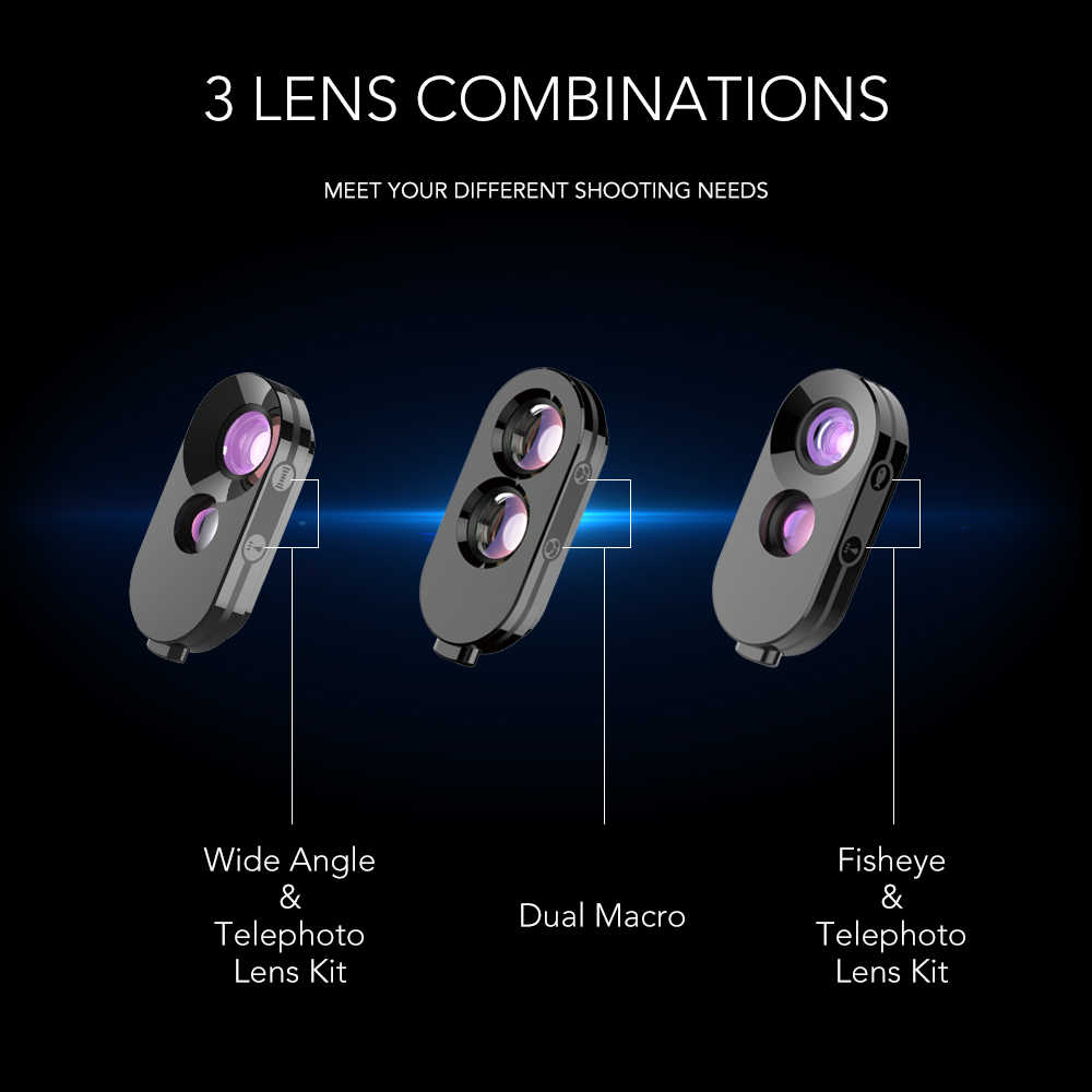 sale retailer 4e801 aaa60 APEXEL Dual Lenses phone camera lens kit fisheye wide macro telephoto zoom  add-on lens with back phone case For iPhone X XS max