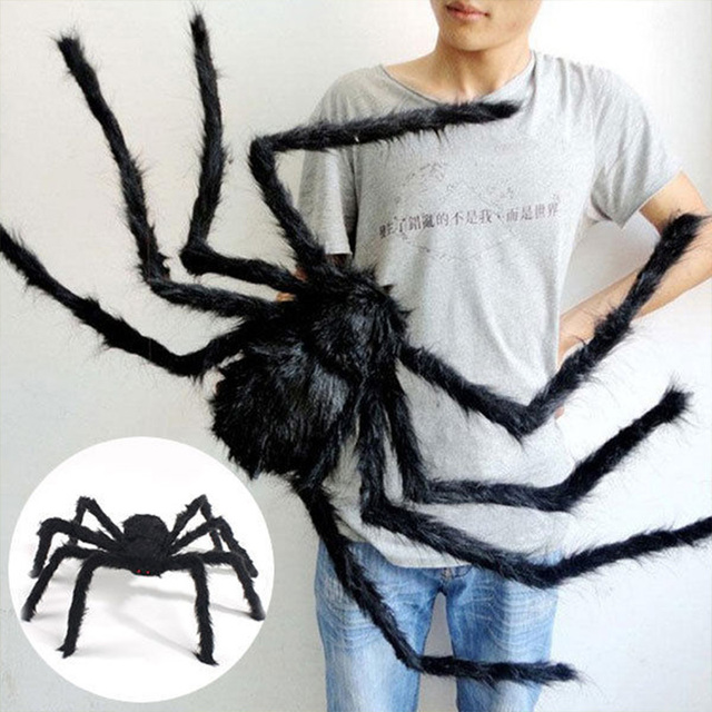 Artificial Black Plastic Spider Halloween Horror Party Banquet Decoration