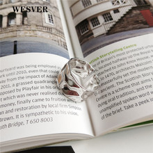 WFSVER 925 sterling silver vintage ring for women korea style Irregular wide face opening adjustable fine jewelry gift
