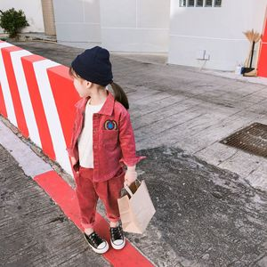 Image 5 - 2019 Spring New korean style cotton clothing sets shirt with long pants fashion corduroy suit for cute sweet baby girls