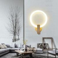 PMMA акриловые кольцо лампы круглый светодиодный бра деревянное основание приспособление освещения современный дизайн гостиной отель ресто