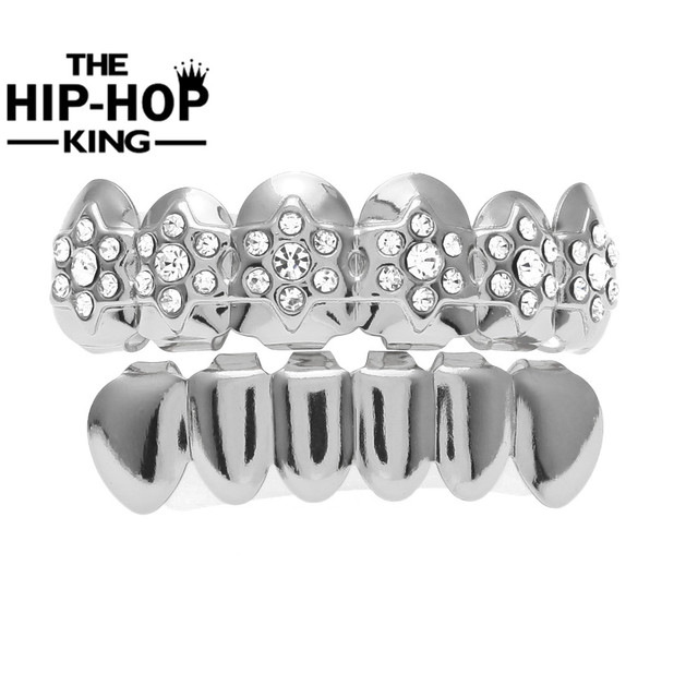 Hip Hop Star of David Teeth Grills Set Shiny Iced Out Simulated Diamonds  Top   Bottom Silver Gold Color Men Women Teeth Grill 07dc0659c0