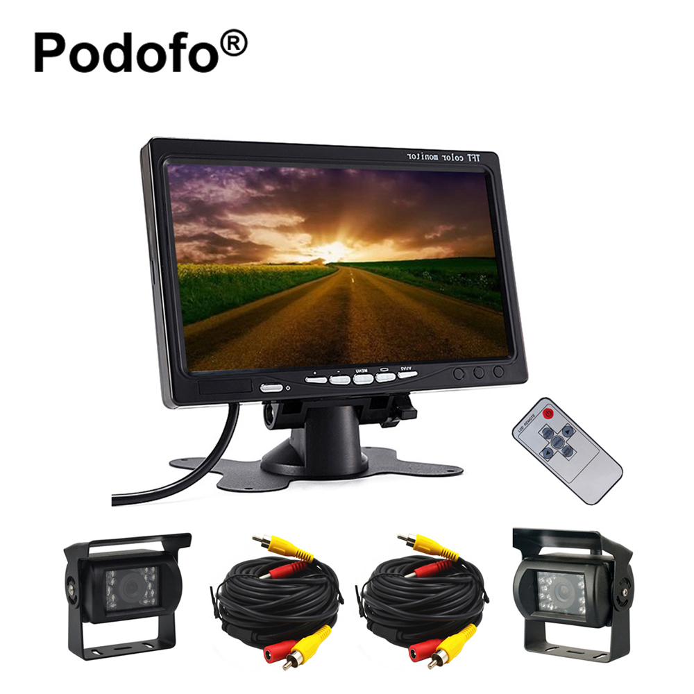 Podofo Dual Backup Camera & 7 LCD Car Rear View Monitor Kit for Truck Bus RV 18 IR LED Night Vision Rearview Reverse Camera