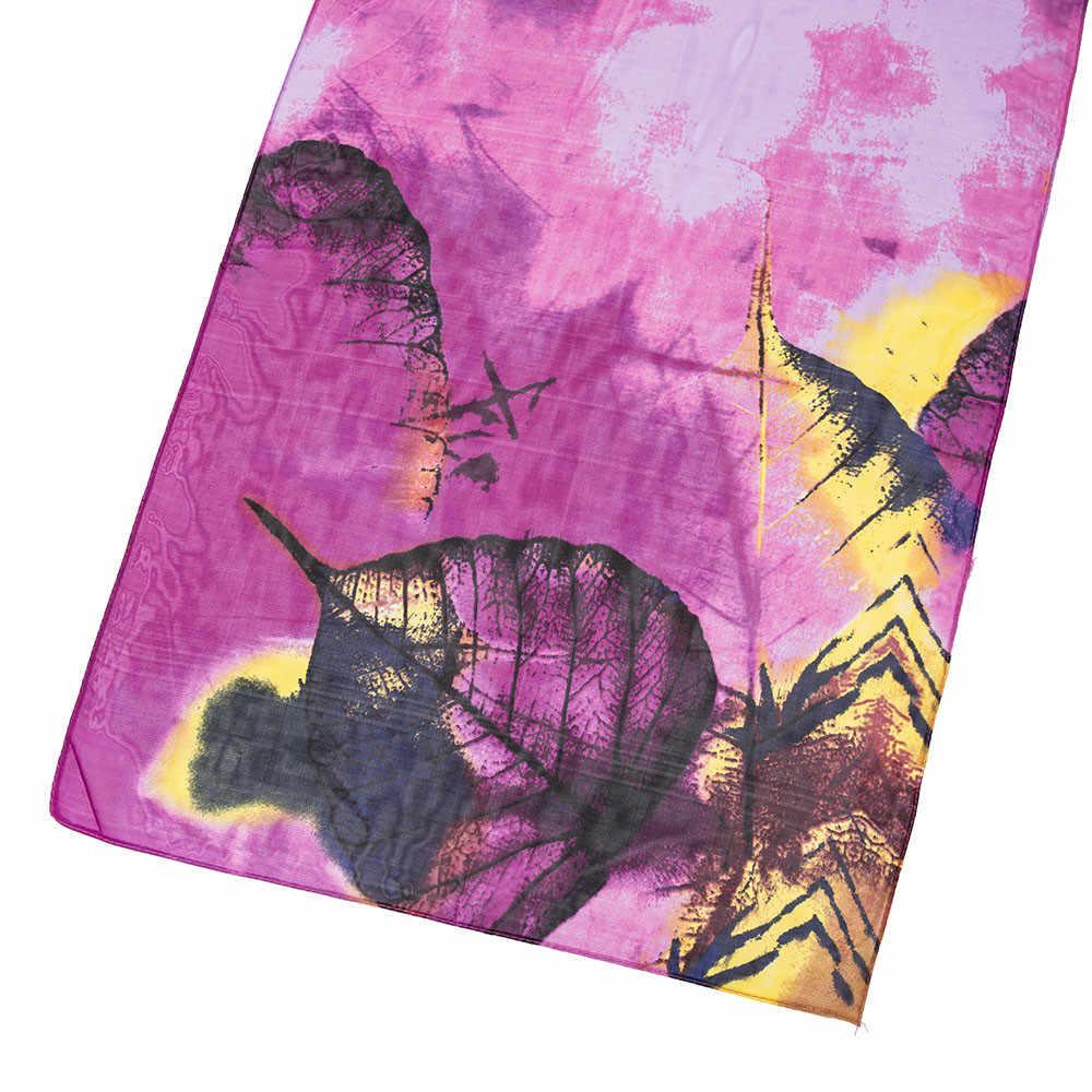 Модные женские шарфы с принтом лотоса Длинный мягкий шарф Изысканный шарф Дамская шаль, косынка эластичные шарфы пончо Foulards #3 $