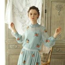 Линетт's chinoisery весна осень для женщин Винтаж Вышивка Мори девушки Кружева Лоскутная блуза рубашка