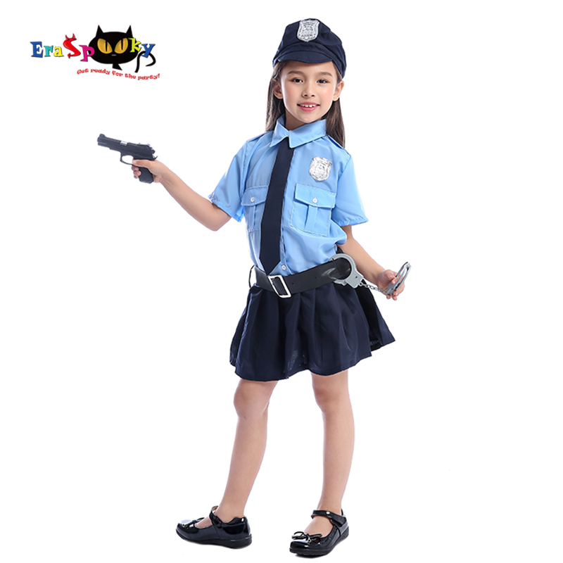 Eraspooky Full Set Cute Police Dress Cosplay Cop Uniform Halloween costume kids Girl Police Officer Carnival Party Fancy Dress