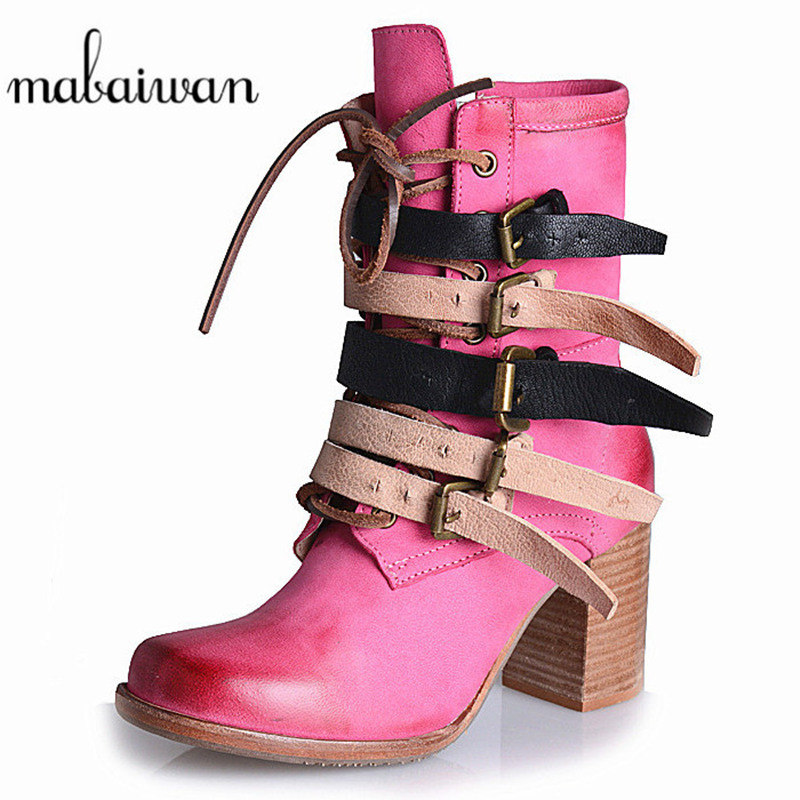 Mabaiwan Women Shoes Winter Snow Ankle Boots Side Zipper Buckles Pink Casual Thick High Heels Shoes Women Pumps Botas Militares 11cm heels 2013 new winter high platform soled high heeled snow boots female side zipper rabbit fur thick heels snow shoes h1852