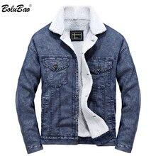 BOLUBAO חורף מותג גברים ג ינס מעילי מעיל גברים של מגמת Wild חם מעילי הלבשה עליונה אופנה חדשה מוצק ג ינס מעילי זכר