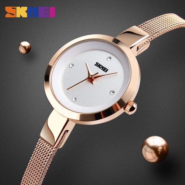 SKMEI Super Slim Golden Stainless Steel Watches Women Top Brand Luxury Casual Clock Ladies Wrist Watch Lady Relogio Feminino1390 2
