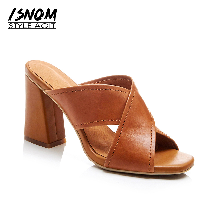 ISNOM Genuine Leather Slippers for Women Shoes High Summer Footwear Cross Strap Sexy Peep toe Mules Thick High Heels Slides