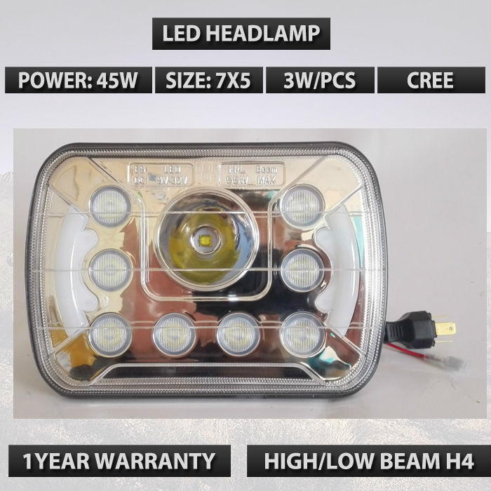 7X5 LED Light Bulb Clear sealed beam with Angel eyes Used leds headlight external light in auto car lights
