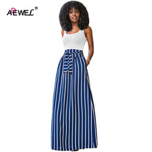 SEBOWEL 2017 Autumn Women High Waist Striped Skirt Vintage Big Hem Floor Long Printed Maxi Skirts striped hem sweatshirt