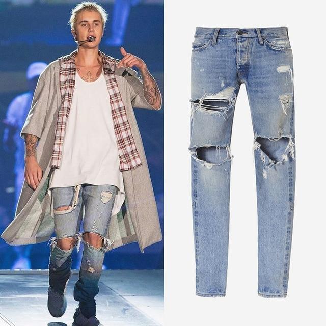 Kanye west ropa streetwear hip hop jeans azul claro rockstar justin bieber botines cremallera destruidos skinny jeans rasgados para los hombres