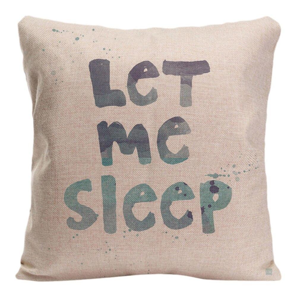 창조적 인 편지 쿠션 커버 장식 베개 수면 커버 귀여운 견적 베개 케이스 코튼 린넨 홈 장식 베개