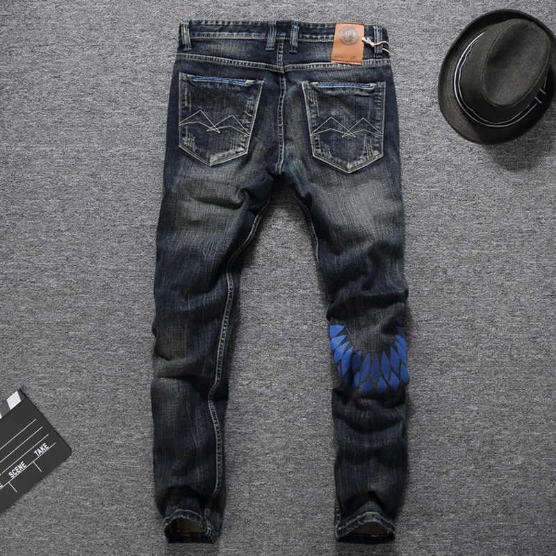 Модные мужские джинсы в европейском и американском стиле на осень и зиму темно-цветные джинсы с принтом мужские джинсовые штаны Balplein Брендовые мужские джинсы байкерские джинсы