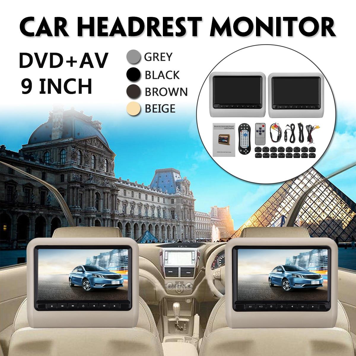 9 дюймов подголовник автомобиля мониторы DVD + AV пульт дистанционного управления для плеера с кабелем комплект подушки детские ЖК дисплей уни